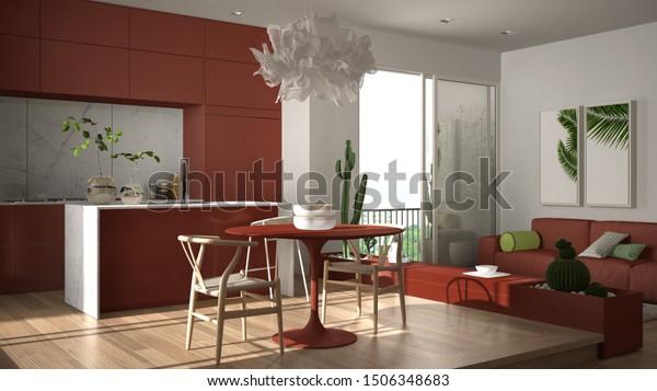 Eco Green Interior Design White Red Stock Illustration 1506348683