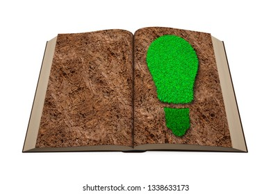 ECO and green renewable energy concept. Opened book with green grass bulb on soil page, isolated on white background. 3D illustration.