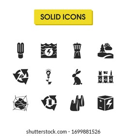 Eco icons set with power of nature, rechargeable box and reduce waste elements. Set of eco icons and eco bulb concept. Editable elements for logo app UI design.