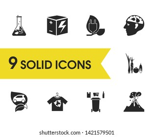Eco icons set with reuse clothes, rechargeable box and plant laboratory elements. Set of eco icons and magma concept. Editable  elements for logo app UI design.