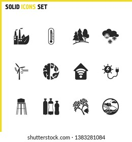 Eco icons set with thermometer, snow and solar energy power elements. Set of eco icons and reservoir concept. Editable  elements for logo app UI design.
