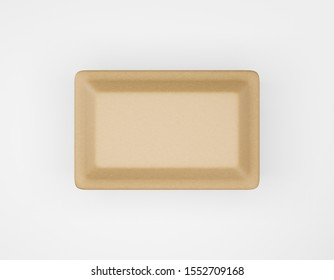 Eco packaging rectangular box kraft paper mockup on white background. Cardboard brown container eco friendly recycled material for lunch, food or things. 3D rendering