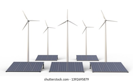 Eco power ,  Renewable energy , Wind turbine farm and solar cell panels isolated on white Background - 3D rendering