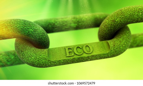 ECO as symbol of a green nature chain 3D illustration