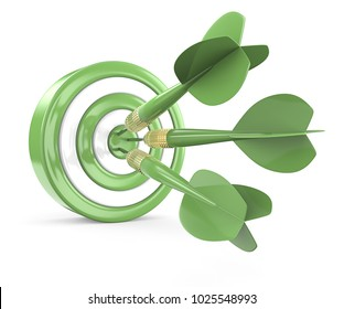 Eco Target. Green and white Dart Board with 3 geen dart arrows. 3D render.