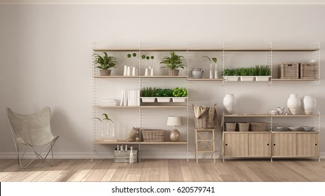 Eco white interior design with wooden bookshelf, diy vertical garden storage shelving, living, lounge relax area with armchair, 3d illustration