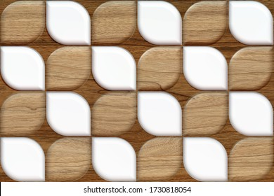 Eco wood 3d tiles with white stone elements. Material wood oak. High quality seamless realistic texture. For wall, web, floor.