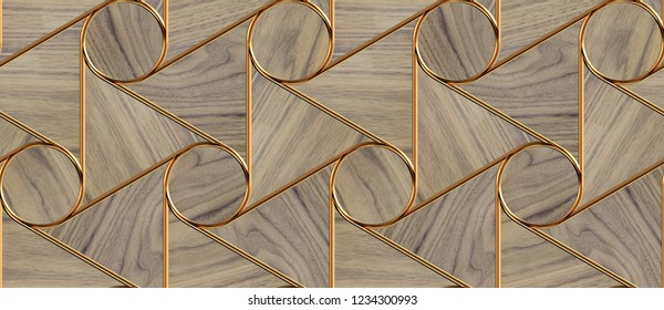 Eco wood triangle tiles with golden decor elements. Material wood nut. High quality seamless realistic texture.