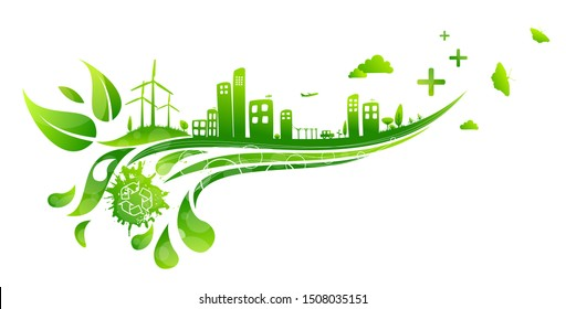 Eco-city landscape with green elements