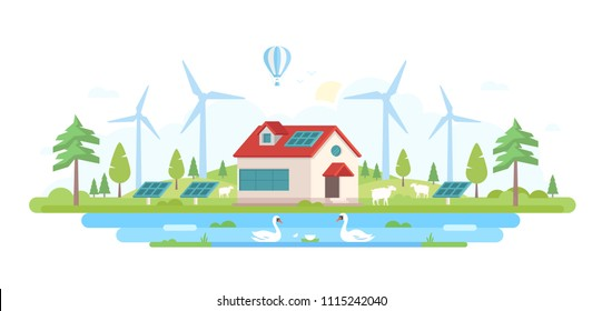 Eco-friendly farm - modern flat design style illustration on white background. Lovely landscape with a small building in the center, trees, windmills, pool with swans, solar panels, sheep
