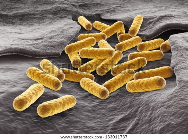 E.coli bacterial colony. 3D render.