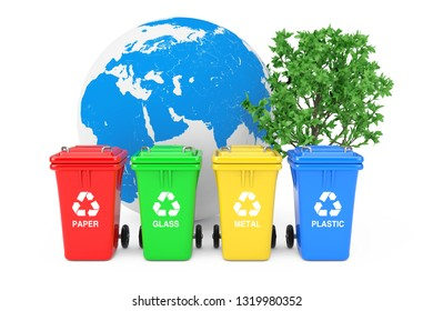 Ecological Concept. Red, Green, Yellow and Blue Recycle Bins with Recycle Symbols, Earth Globe and Green Tree on a white background. 3d Rendering