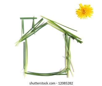 Ecological house with dandelion as the Sun, isolated against white background