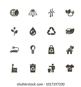 Ecological icons. Flat Simple Icon - Gray Illustration on White Background.