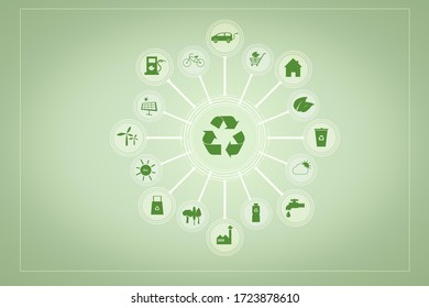 Ecological signs on green background , Save earth concept