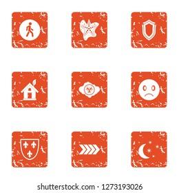 Ecologist icons set. Grunge set of 9 ecologist icons for web isolated on white background