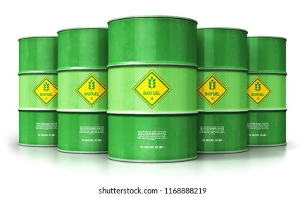 Ecology, alternative sustainable energy and environment protection saving business concept: 3D render of the group of green metal biofuel drums or biodiesel barrels isolated on white background