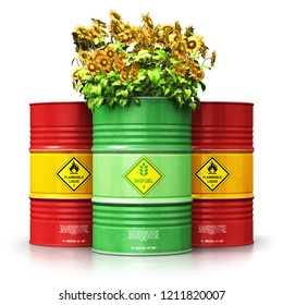 Ecology, alternative sustainable energy and environment protection saving business concept: 3D render of green biofuel biodiesel barrel with sunflowers in front of group of oil, petroleum or gas drums