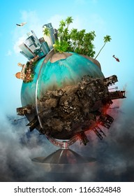 Ecology ang world saving concept. Earth globe with peace and war areas. 3D illustration