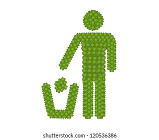 Ecology Concept, Fresh Green Four Leaf Clover Forming A Man Throwing Garbage into A Trash Can Icon for Taking Care of Our Environment