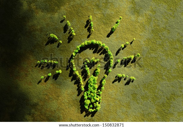 ecology concept lamp, growing green tree composition