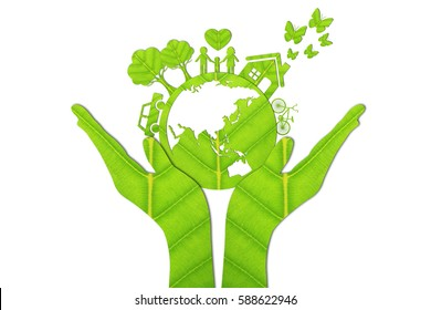 Ecology concept made from green leaves.