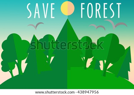 ecology eco save forest concept stock illustration 438947956