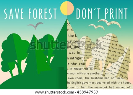 ecology eco save forest dont print stock illustration 438947959