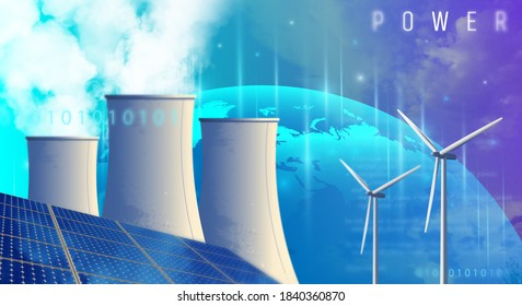 Ecology energy solution. Nuclear energy program. Renewable energy sources. Clean electric energy from renewable sources sun and wind. 3d rendering.