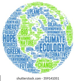 Ecology environment climate word cloud