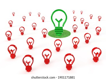 Ecology green light bulb idea on a grass background or frame with many red bulbs. Abstract future banner concept with a winner for your business. 3d rendering