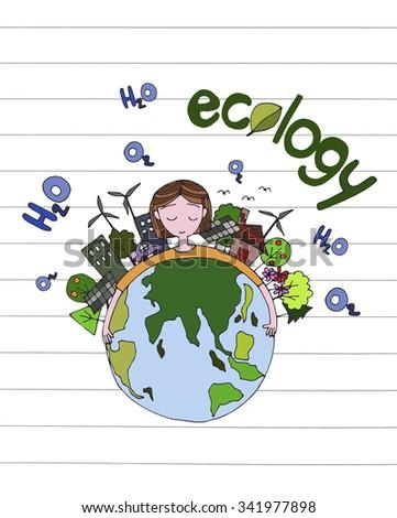 Ecology Green World Concept Ecology Green Stock Illustration