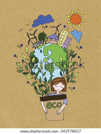 Ecology Green World Concept Hand Drawing Stock Illustration