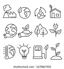 Ecology icons  illustration. nature world bio
