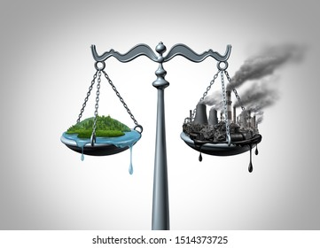 Ecology law environmental impact assessment and natural resources law and taking climate legal action and greenhouse gas reduction regulations with 3D illustration elements.