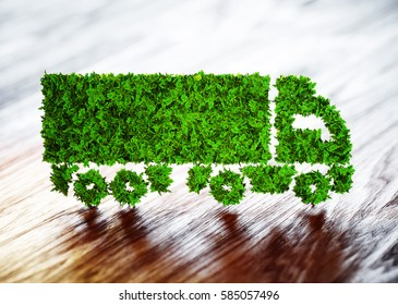 Ecology logistics concept. 3D illustration of a green truck with a blurred wood background.