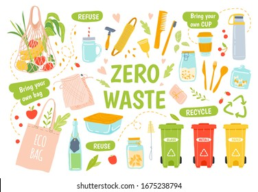Ecology reusables. Zero waste, recycle and reusable products. Wooden toothbrush and hairbrush, glass jars, keep cap and eco grocery bag  illustration set. Waste sorting. Refuse plastic idea