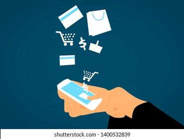 e-commerce concept Illustration using smartphone for shopping