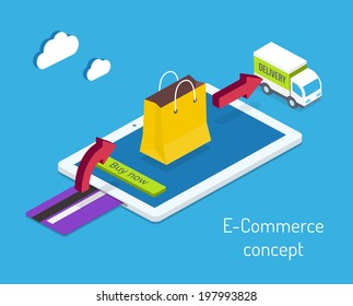 E-commerce or internet shopping concept with a credit card for payment and an arrow pointing to a shopping bag on a tablet computer screen leading to a delivery truck  illustration