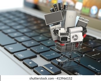E-commerce or online shopping concept. Home appliance in shopping cart on the laptop keyboard. 3d illustration
