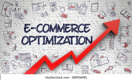E-Commerce Optimization - Modern Style Illustration with Doodle Design Elements. E-Commerce Optimization Drawn on Brick Wall. Illustration with Hand Drawn Icons.