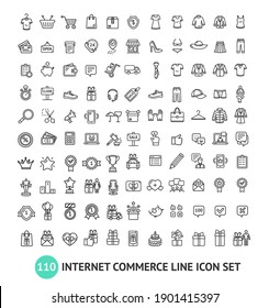 E-commerce Shopping Service Signs Black Thin Line Icon Set Include of Money, Delivery and Basket. illustration of Icons
