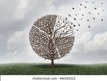 Economic business market shift or global investing concept as a tree with birds on branches shaped as a financial diagram of a pie chart as a portion flying away with 3D illustration elements.