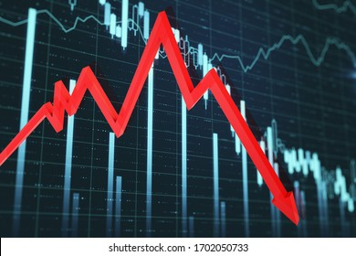 Economic crisis stock charts and red arrow on screen. Trade and finance depression concept. 3D Rendering