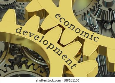 Economic Development concept on the gearwheels, 3D rendering