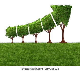 Economic graph chart and eco or ecological development concept as a group of trees coming together in the shape of an arrow pointing upwards as a success metaphor for profits and growth.