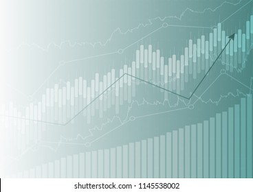 Economic graph with diagrams on the stock market, for business and financial concepts and reports.Abstract blue background
