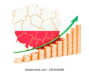 Economic growth in Poland concept, 3D rendering isolated on white background