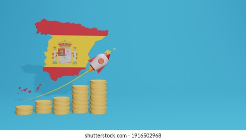 Economic growth in Spain for the needs of tv, social media and website background cover in 3d rendering, free space can be used to display data, numbers or infographics.