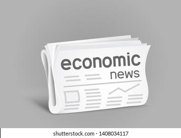 Economic newspaper on gray background. Economical press news